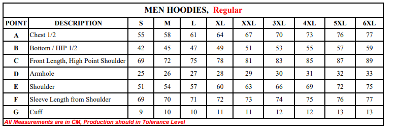 Hooded sweater Size Chart